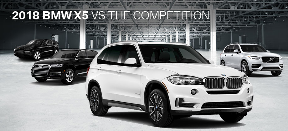 The 2018 BMW X5 vs the Audi Q7, Porsche Cayenne, and Volvo XC90 at BMW of Columbia in Columbia, SC