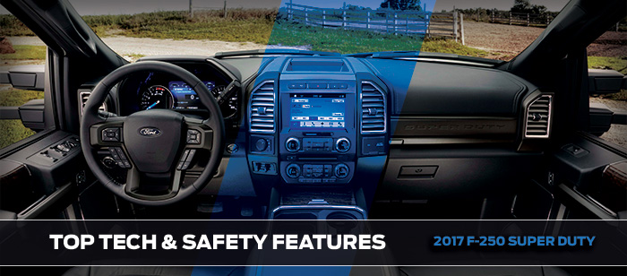 Safety features and interior of the 2017 Super Duty - available at Brighton Ford near Thornton and Denver, CO
