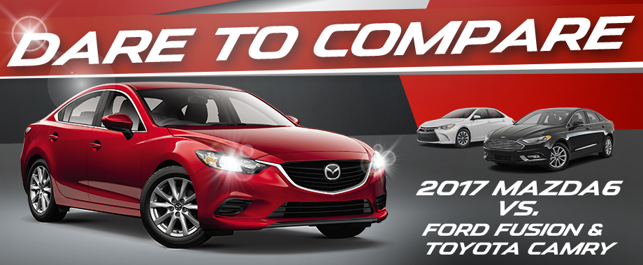 Compare the 2017 Mazda6 to the Ford Fusion and Toyota Camry at Bob Moore Mazda in Oklahoma City