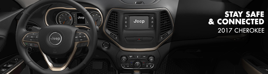 Safety features and interior of the 2017 Cherokee - available at Crown Chrysler Dodge Jeep Ram of Cleveland near Athens and East Ridge