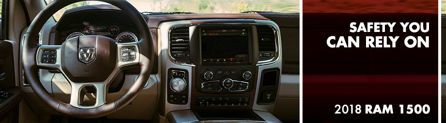 Safety features and interior of the 2018 RAM 1500 - available at Crown Chrysler Dodge Jeep Ram of Cleveland near Athens and Dayton