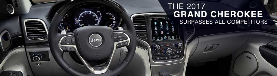 Safety features and interior of the 2017 Grand Cherokee near Columbus - available at Crown CDJR of Dublin near Columbus and Delaware