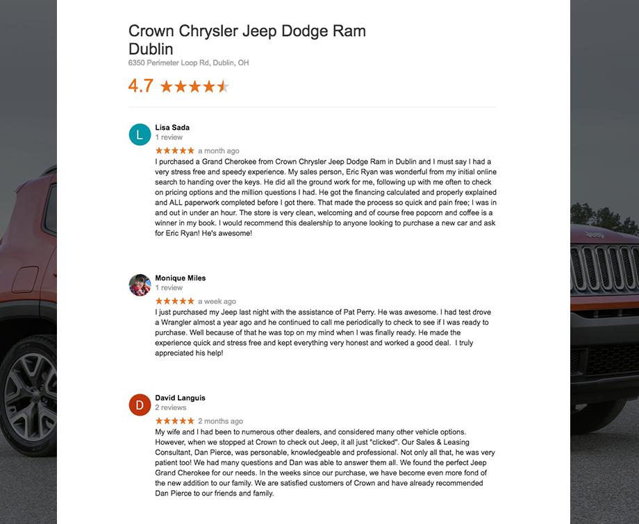 Our Google Review Scorecard Crown Chrysler Dodge Jeep