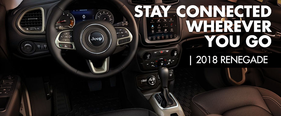 Safety features and interior of the 2018 Jeep Renegade - available at Crown Chrysler Dodge Jeep Ram of Chattanooga near Soddy-Daisy and East Ridge, TN