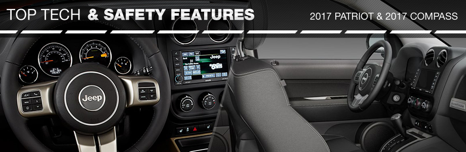 Safety features and interior of the 2017 Patriot and 2017 Compass at Crown Chrysler Dodge Jeep Ram of Chattanooga near Dalton, GA