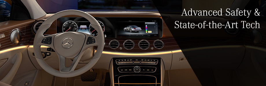 Safety features and interior of the 2017 E-Class - available at Crown Eurocars near Clearwater and Largo