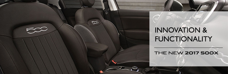 Safety features and interior of the 2017 500X - available at Crown FIAT of Chattanooga near Sparta and Athens
