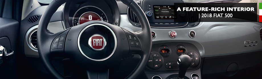 Safety features and interior of the 2018 FIAT 500 - available at Crown FIAT of Dublin near Columbus, OH and Springfield, OH