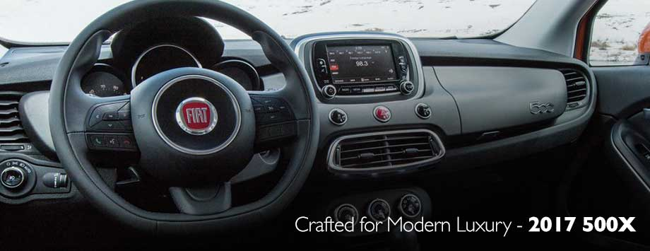 Safety features and interior of the 2017 500X - available at Crown FIAT of Dublin near Springfield and Columbus