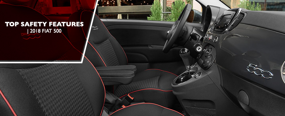 Safety features and interior of the 2018 FIAT 500 - available at Crown FIAT of Dublin near Columbus and Springfield, OH
