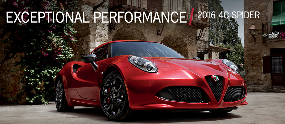 The 2016 4C Spider is available at Crown Alfa Romeo of Dublin near Columbus, OH