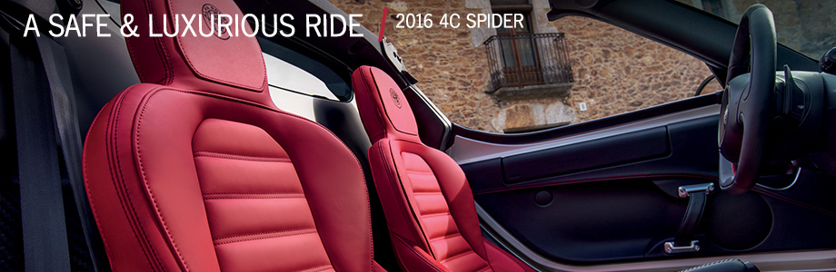 Safety features and interior of the 2016 4C Spider - available at Crown Alfa Romeo of Dublin near Columbus, OH