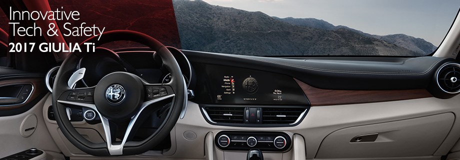 Safety features and interior of the 2017 Giulia Ti - available at Crown Alfa Romeo of Dublin near Delaware and Easton Town Center