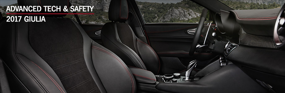 Safety features and interior of the 2017 Giulia - available at Crown Alfa Romeo of Dublin near Delaware and Columbus