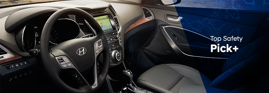 Safety features and interior of the 2018 Hyundai Santa Fe - available at Crown Hyundai near Clearwater and Palm Harbor, FL