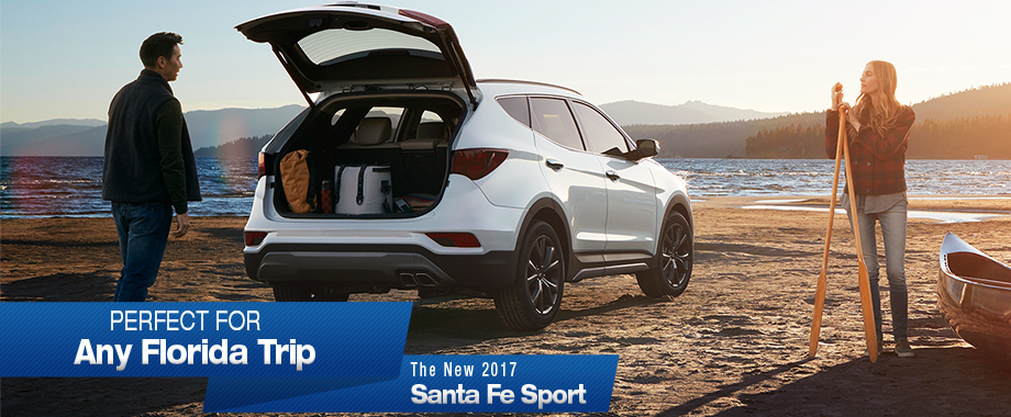 Safety features and interior of the 2017 Santa Fe Sport at Crown Hyundai near Clearwater, FL