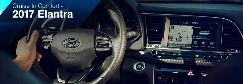 Safety features and interior of the 2017 Elantra - available at Crown Hyundai near Tampa and St. Pete