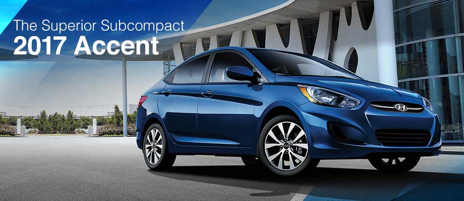 The 2017 Accent is available at Crown Hyundai in St. Petersburg