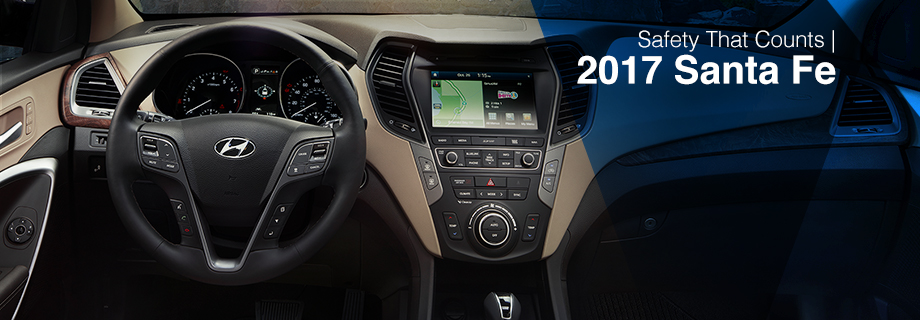 Safety features and interior of the 2017 Santa Fe - available at Crown Hyundai in St. Petersburg near Clearwater