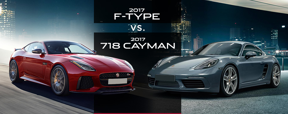 The 2017 Jaguar F-TYPE and the 2017 Porsche 718 Cayman in St. Petersburg