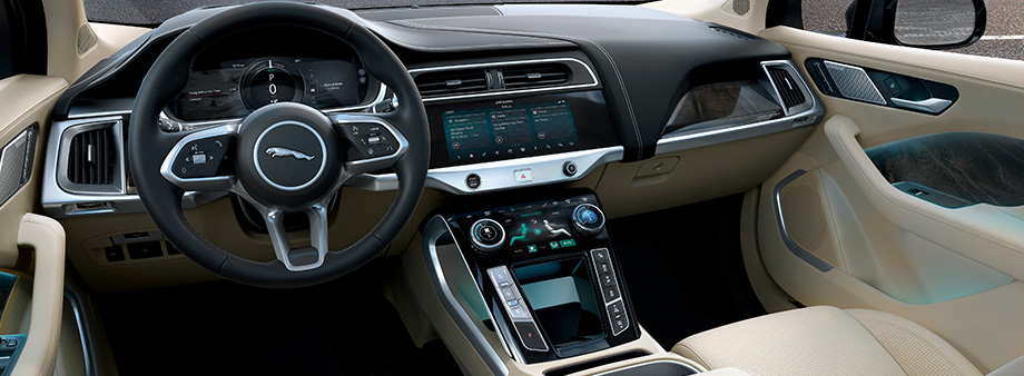 Safety features and interior of the 2019 Jaguar I-PACE available at Crown Jaguar in St. Petersburg near Bradenton FL