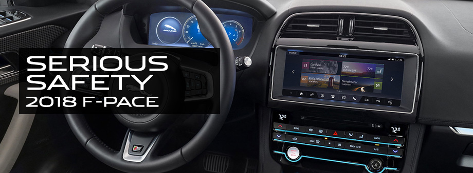 Safety features and interior of the 2018 F-PACE - available at Crown Jaguar near Clearwater and Palm Harbor