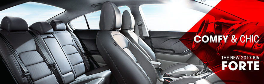 Safety features and interior of the 2017 Forte - available at Crown Kia of Dublin near Delaware and Springfield