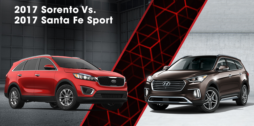 The 2017 Sorento and the 2017 Santa Fe Sport in Dublin, OH
