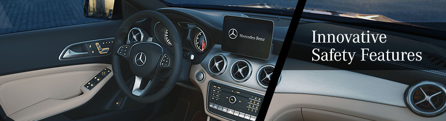 Safety features and interior of the 2018 GLA - available at Crown Eurocars near Columbus and Springfield, OH