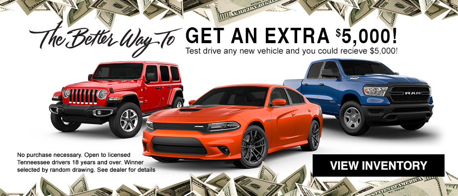 You could win $5,000 just for taking a test drive at your local Crown dealership in Tennessee