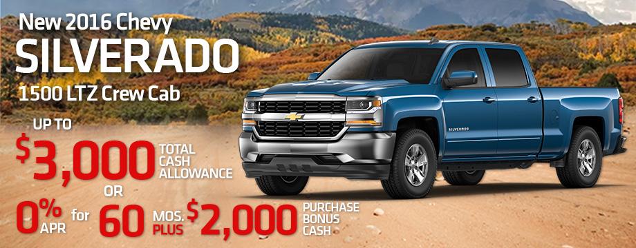 New 2016 Chevy Silverado 1500 LTZ Crew Cab $3,000 Total Cash Allowance Or 0% APR for 60 months PLUS $2,000 Purchase Bonus Cash