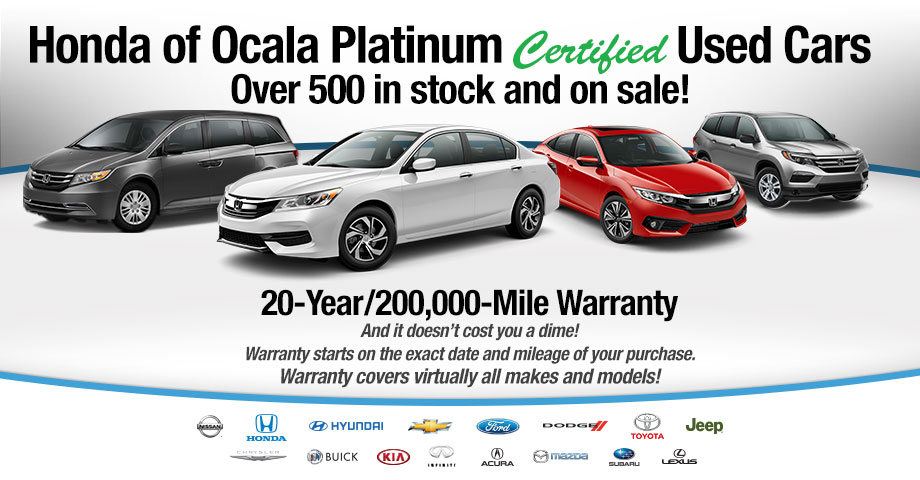 Honda Of Ocala Platinum Certified Used Cars 20-Year/200,000-Mile Warranty