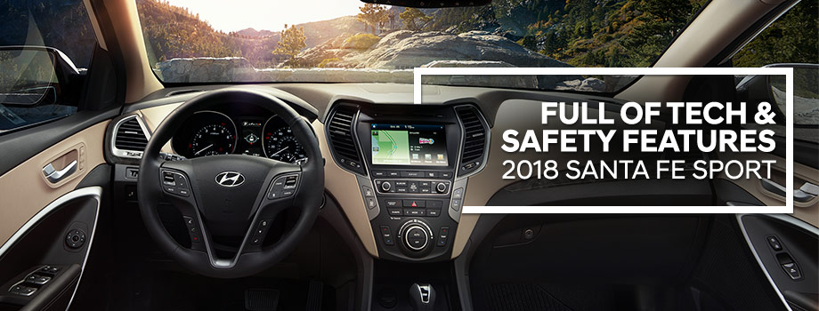 Safety features and interior of the 2018 Santa Fe Sport - available at Lithia Hyundai of Reno near Sparks & Carson City