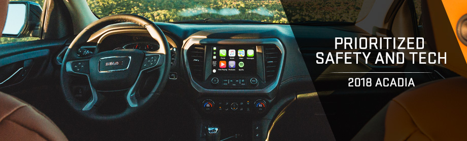 Safety features and interior of the 2018 GMC Acadia - available at Rivertown Buick GMC near LaGrange and Columbus, GA