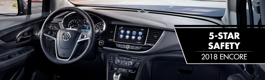 Safety features and interior of the 2018 Buick Encore- available at Rivertown Buick GMC near LaGrange and Columbus, GA