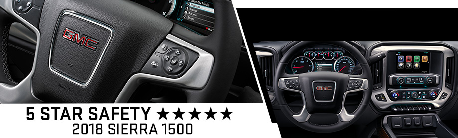 Safety features and interior of the 2018 GMC Sierra 1500 - available at