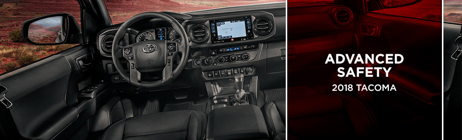 Safety features and interior of the 2018 Toyota Tacoma - available at Rivertown Toyota near Auburn-Opelika, AL and Columbus, GA