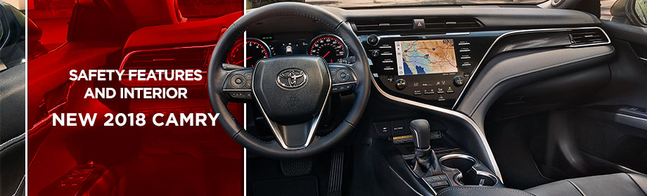 Safety features and interior of the 2018 Toyota Camry - available at Rivertown Toyota near Auburn-Opelika, AL and Columbus, GA