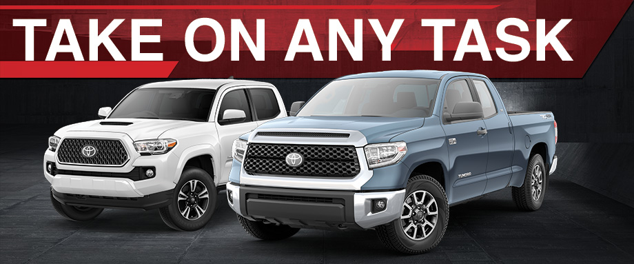 Toyota Tacoma and Tundra trucks are available at Rivertown Toyota in Columbus