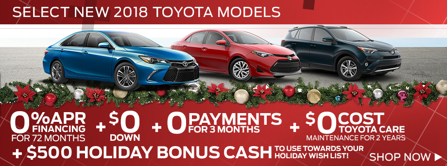 Select New 2017 and 2018 Toyota Models