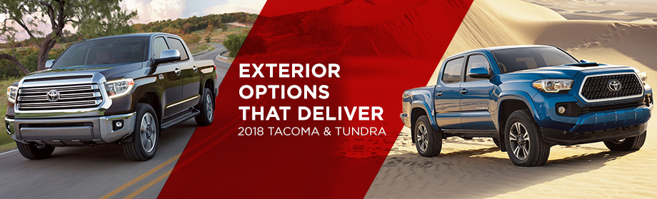 Exterior of the 2018 Toyota Tacoma and 2018 Toyota Tundra at World Toyota near Sandy Springs, GA