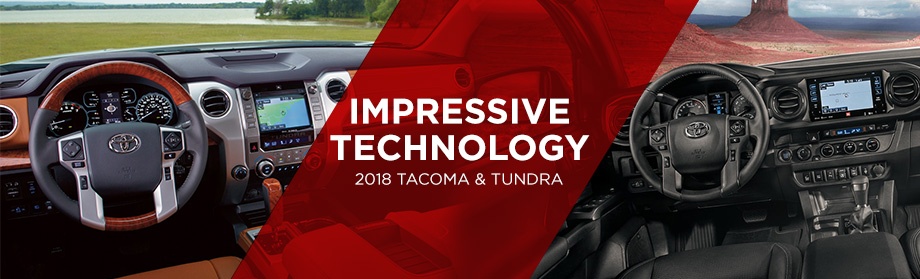 Safety features and interior of the 2018 Toyota Tacoma and 2018 Toyota Tundra at World Toyota near Sandy Springs and Alpharetta, GA