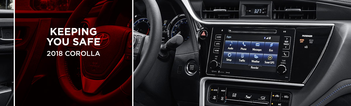Safety features and interior of the 2018 Corolla - available at World Toyota in Atlanta near Alpharetta
