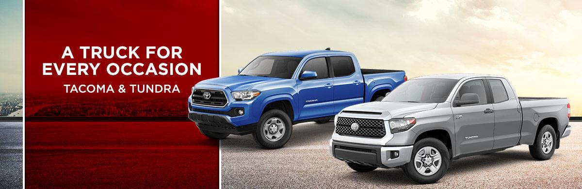 Toyota Tacoma and Tundra trucks are available at World Toyota in Atlanta