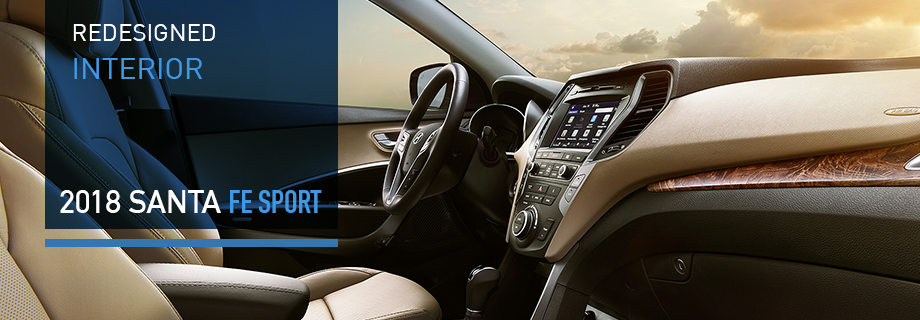 Safety features and interior of the 2018 Santa Fe Sport - available at Crown Hyundai near Clearwater and Palm Harbor