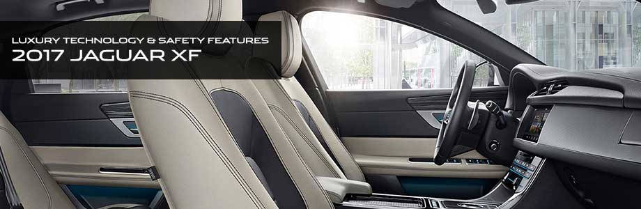 Safety features and interior of the 2017 XF - available at Crown Jaguar in St. Petersburg near Tampa