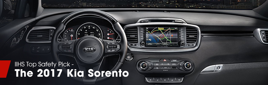 Safety features and Interior of the 2017 Kia Sorento - available at Crown Kia Dublin near Delaware and Springfield