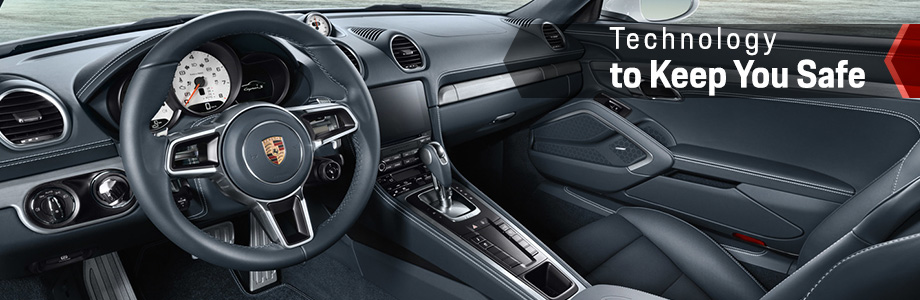 Safety features and interior of the 2018 Cayman - available at Capital Porsche near Panama City and Lake City