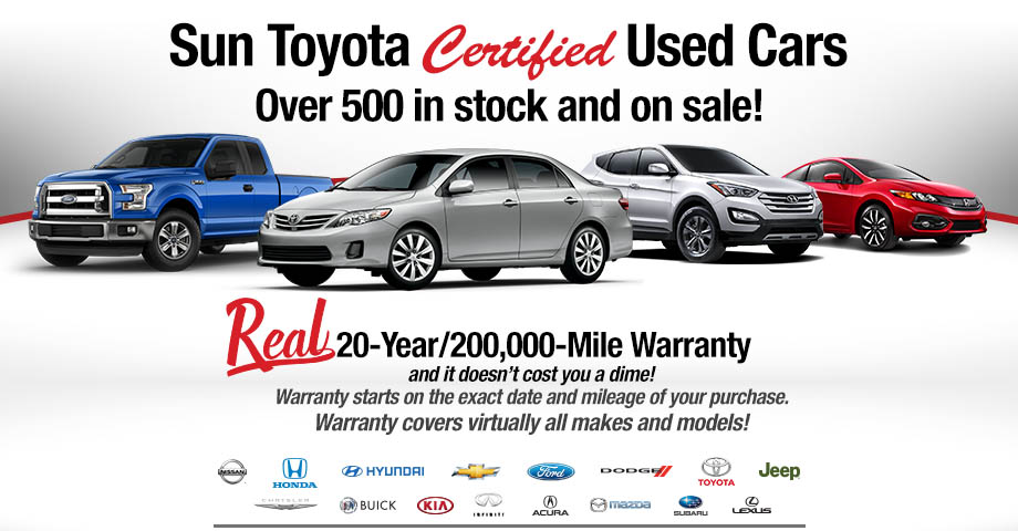 Sun Toyota Certified Used Cars | Over 500 in stock on sale!